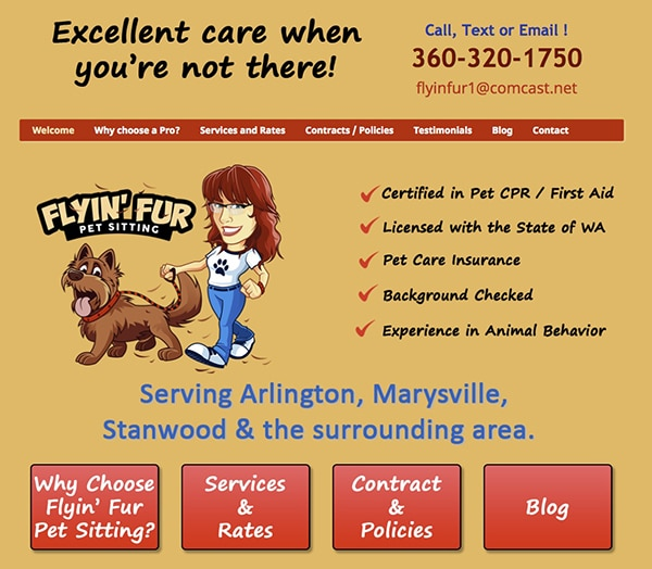Flyin Fur Pet website half page