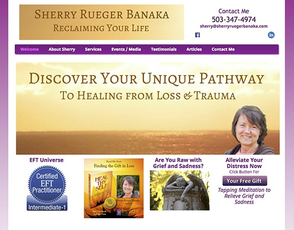 Sherry Rueger Banaka website half view