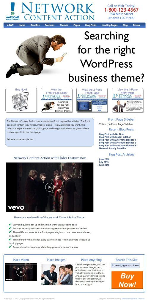Network Content Action with Slider Feature Box