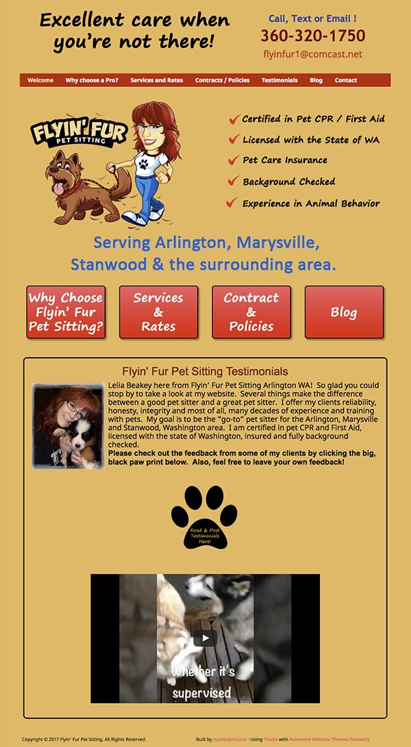 Flyin Fur website full view