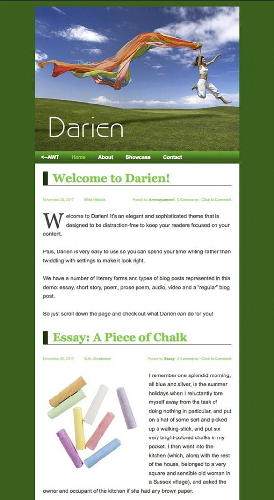 Darien in green with a large header image